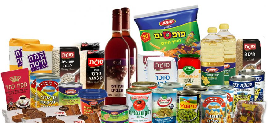 Basket of a food products for Rosh Hashana