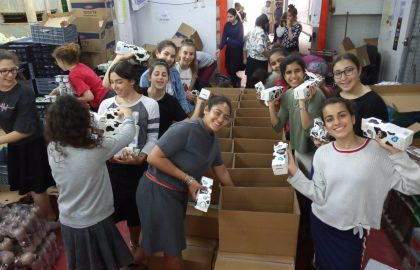 Distribution of Dairy Products for Shavuot for Holocaust Survivors